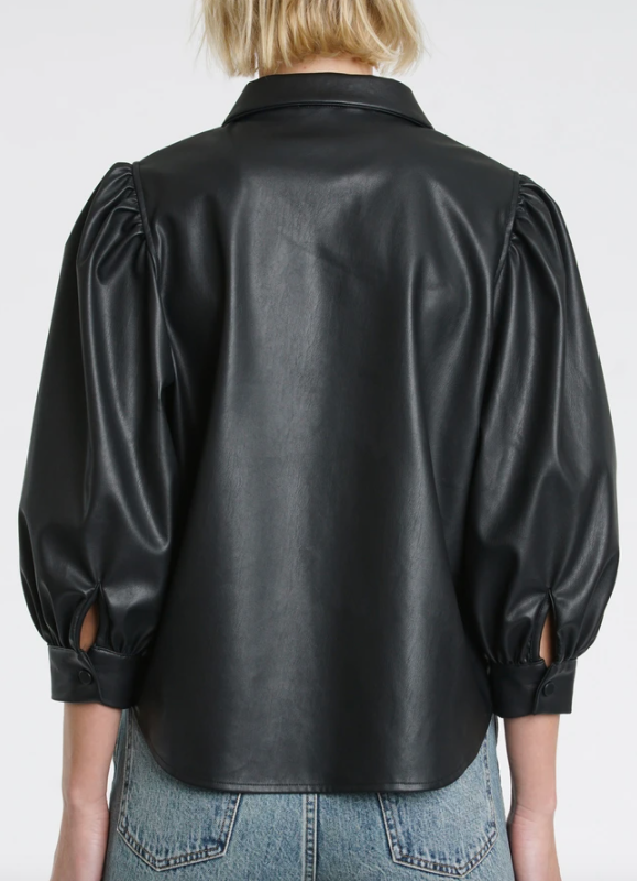 ADINA BLACK LEATHER BUTTON UP