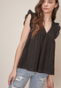 EYELET SHORT SLEEVE TOP