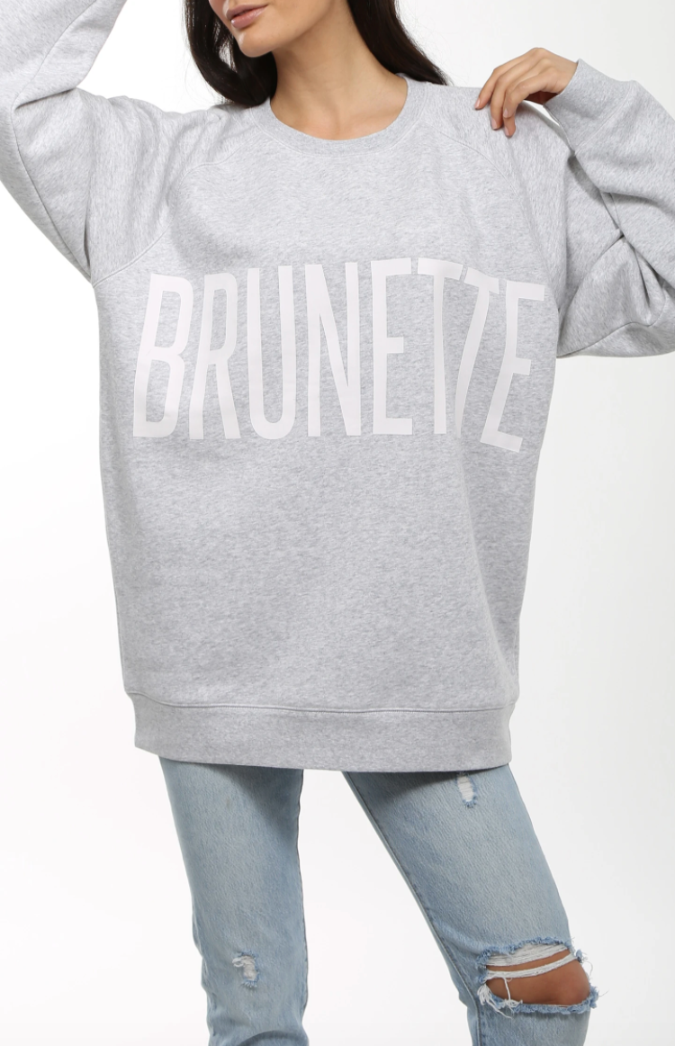 BRUNETTE PEBBLE GREY OVERSIZED SWEATSHIRT