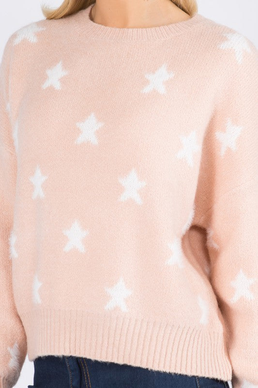 PINK STAR NIGHT SWEATER