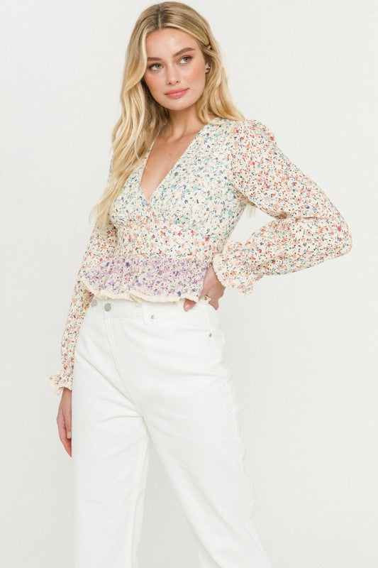 FLOWER PATCH EYELET TOP