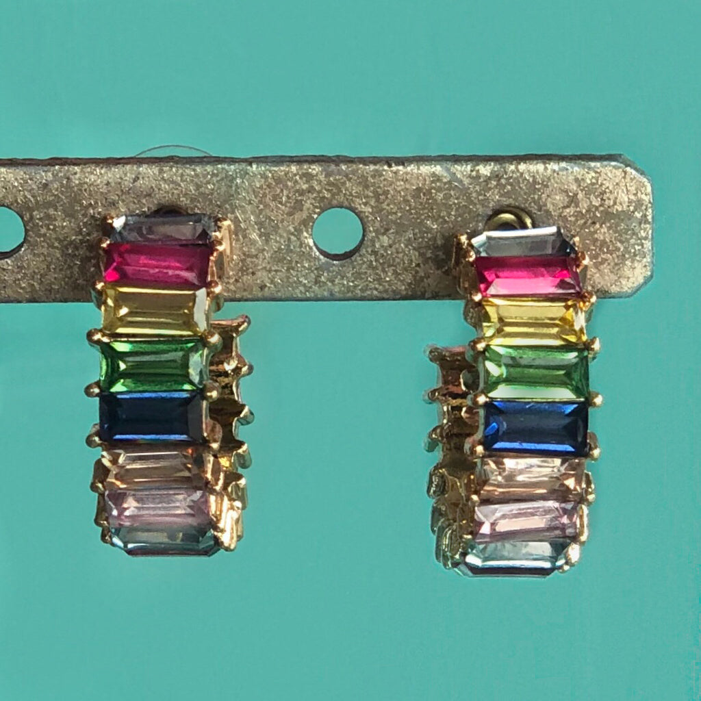 RAINBOW EMERALD CUT HOOP EARRING