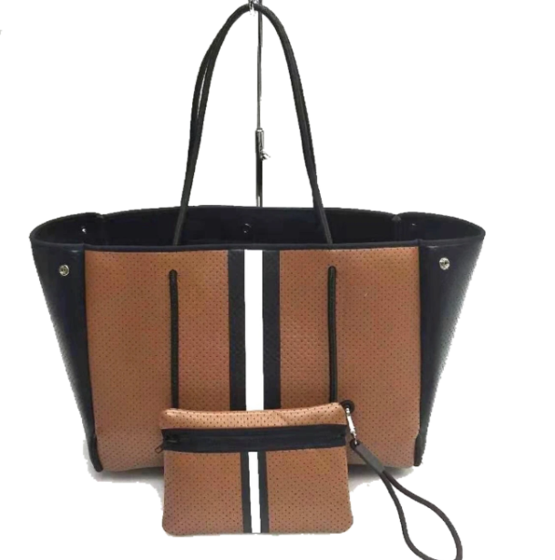 GREYSON MILAN BROWN COATED TOTE WHITE STRIPE