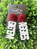 A&M EARRING - WHITE ACRYLIC GIG EM WITH MAROON BEADED TOP