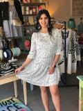 CHEETAH SPOT 3/4 SLEEVE DRESS