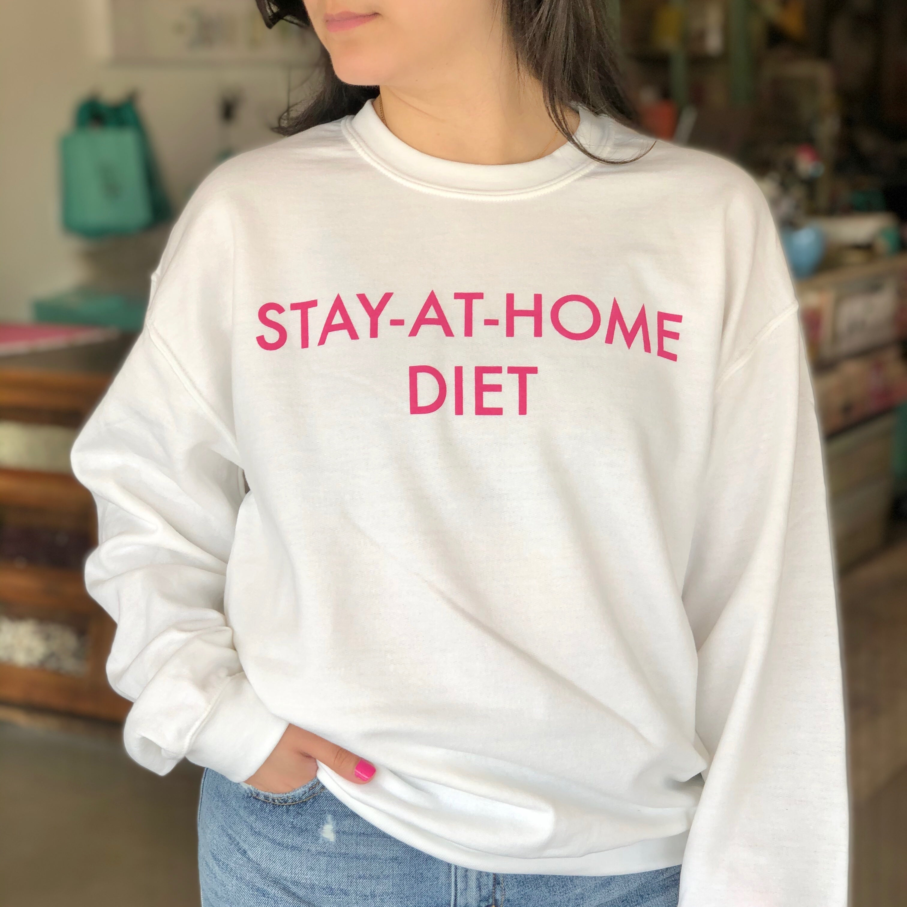 STAY AT HOME DIET WHITE SWEATSHIRT