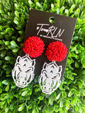 ARKANSAS EARRING - WHITE ACRYLIC HOG FACE WITH RED BEADED TOP