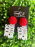ARKANSAS EARRING - WHITE ACRYLIC WOO PIG WITH RED BEADED TOP