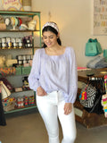 LAVENDER LACE PEASANT TOP