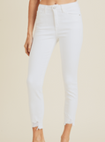 BRIGHT WHITE SKINNY WITH HEM BITE BP224J-A