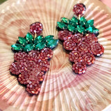 BEADED GRAPE EARRING