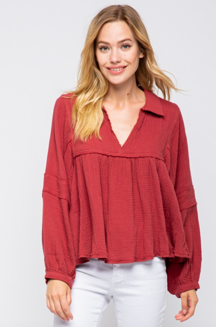 VALERIE V NECK GAUZE TOP