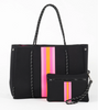 BLACK GREYSON TOTE PINK AND ORANGE STRIPE