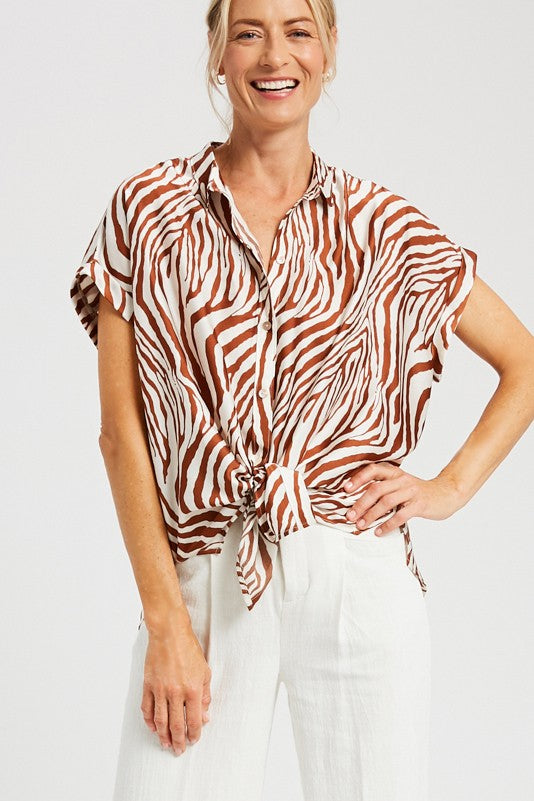 RUST ZEBRA PRINT TOP