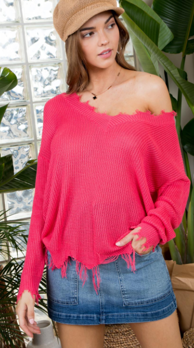 AIRY FRAYED V NECK SWEATER