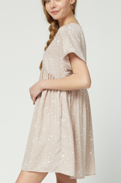 STARRY TAUPE DRESS