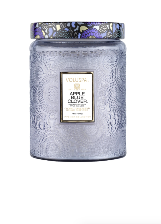 APPLE BLUE CLOVER - LARGE GLASS JAR CANDLE