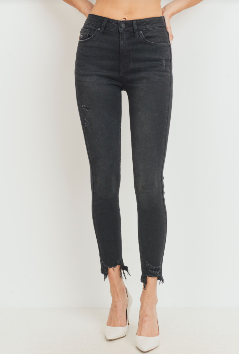 WASHED BLACK HIGH RISE DISTRESSED ANKLE SKINNY - DP495