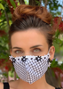 ADULT BLACK & WHITE FLORAL TRIM FACE MASK