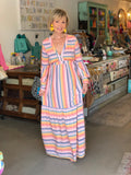 MUTED RAINBOW STRIPE MAXI DRESS