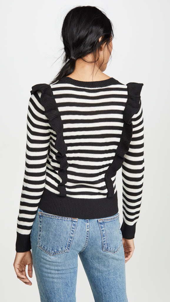 MIME YOUR BUSINESS BLACK STRIPE SWEATER
