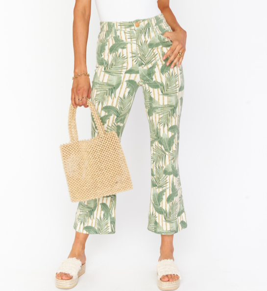 CROPPED HAWN BAMBOO PALM TROUSER