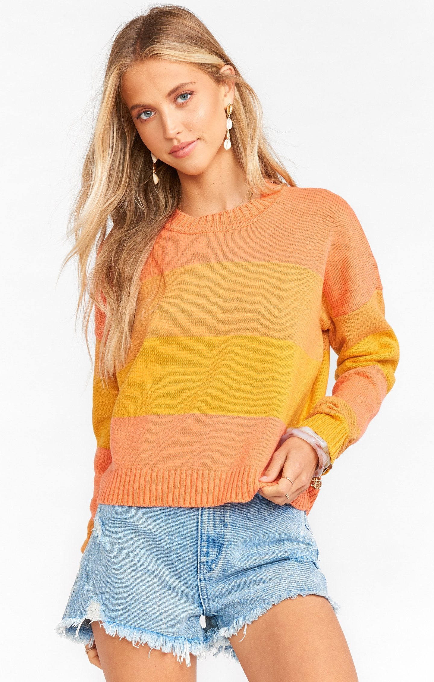 SUNKISSED STRIPE CROPPED VARSITY SWEATER