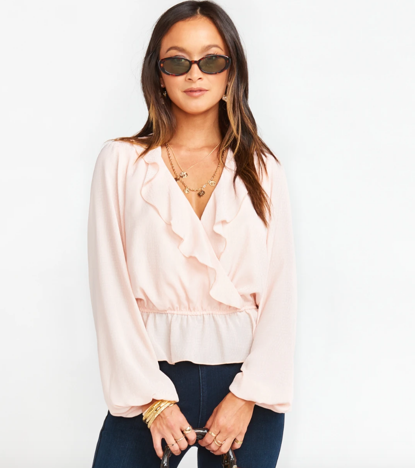 BREWSTER PINK SPECKLE DOT TOP