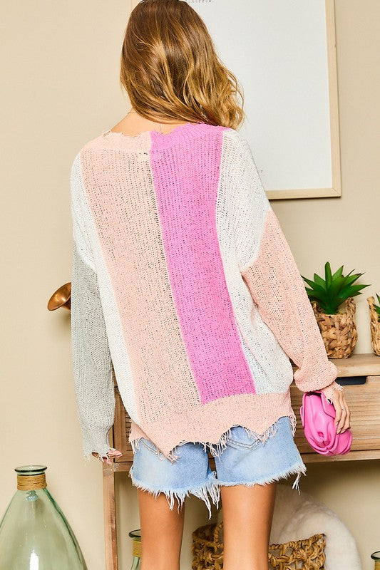 CUTE COLOR BLOCK LIGHT WEIGHT SWEATER