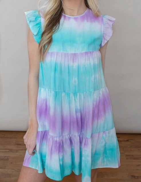 RUFFLE SLEEVE TIE DYE BABYDOLL DRESS