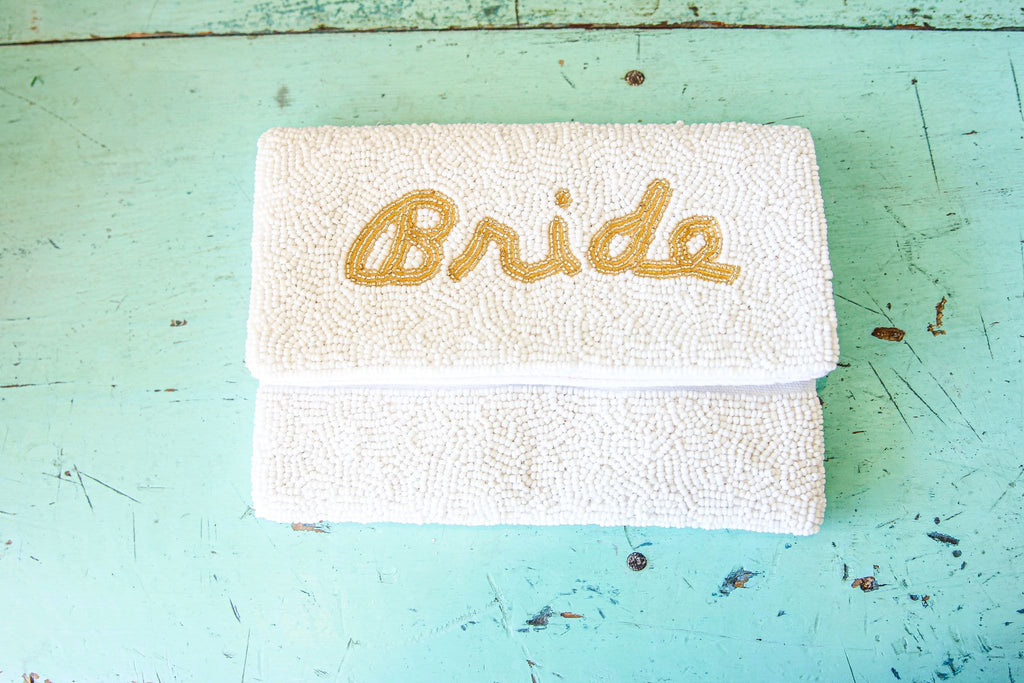 BRIDE WHITE BEAD MINI CROSS BODY BAG