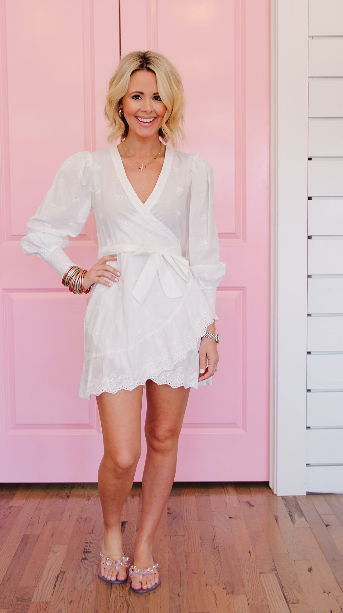 THINKING ABOUT YOU WHITE WRAP DRESS