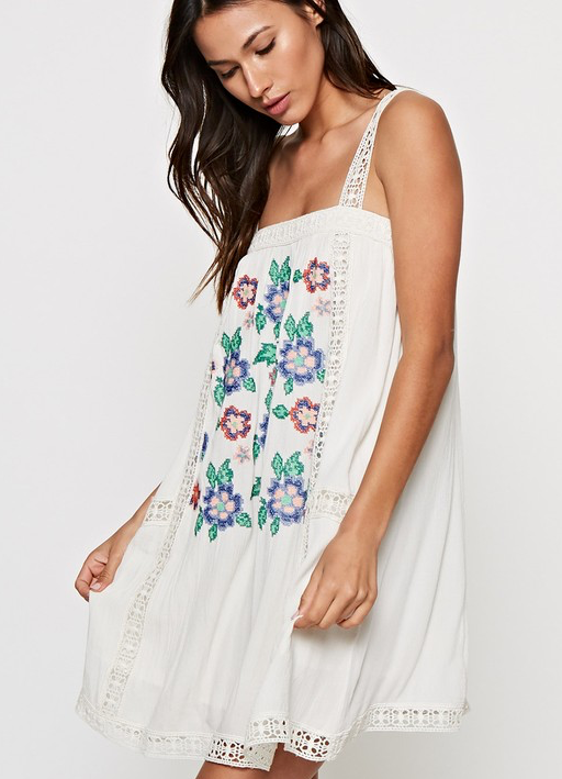 EMBROIDERED SUMMER BEACH TANK DRESS