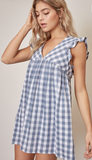 CHECKERED FLUTTER SLEEVE DRESS