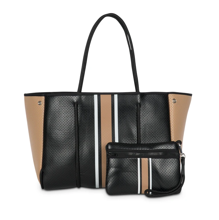 GREYSON BOSS BLACK WITH CAMEL STRIPE TOTE