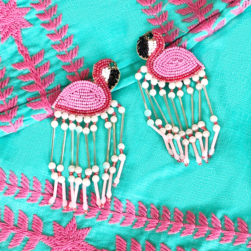 PINK FRINGE FLAMINGO EARRINGS