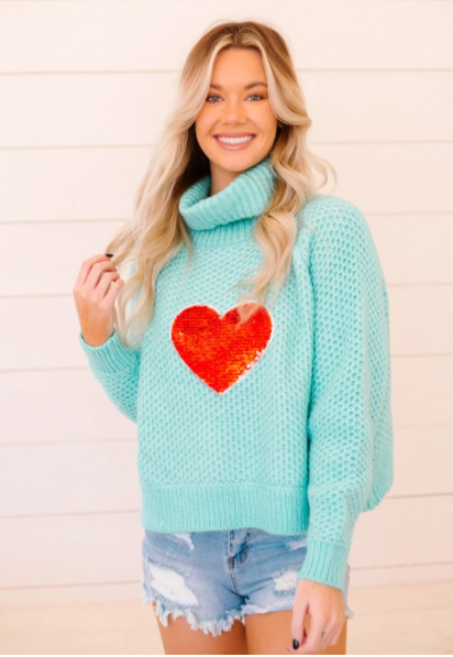 HEART EYES TURQUOISE SWEATER
