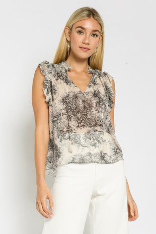 PAINTED ISLANDS RUFFLE TOP