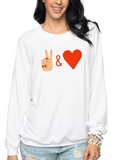 PEACE AND LOVE WHITE SWEATSHIRT