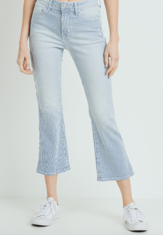 HR CROPPED MINI BOOT CUT  STRIPE JEAN BP294J