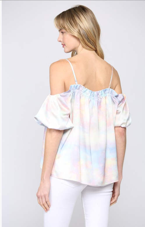 COTTON CANDY BALLOON OFF THE SHOULDER TOP