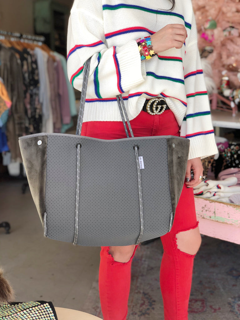 GREY NEOPRENE BAG WITH GREY VELVET SIDES