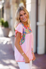 ADDIE PINK WITH MULTI COLOR EMBROIDERED TOP