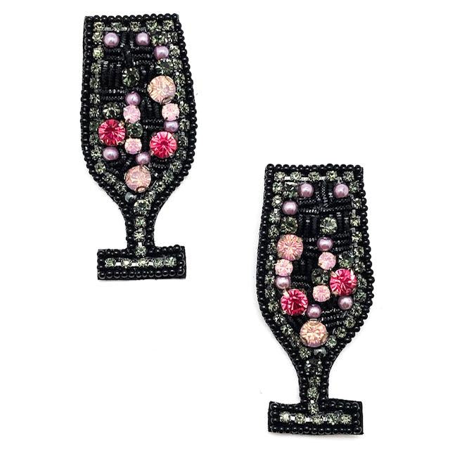 JEWELED WINE GLASS EARRING