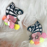 BEADED ZEBRA & FLOWER EARRING