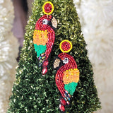 TROPICAL PARROT BEADED EARRING