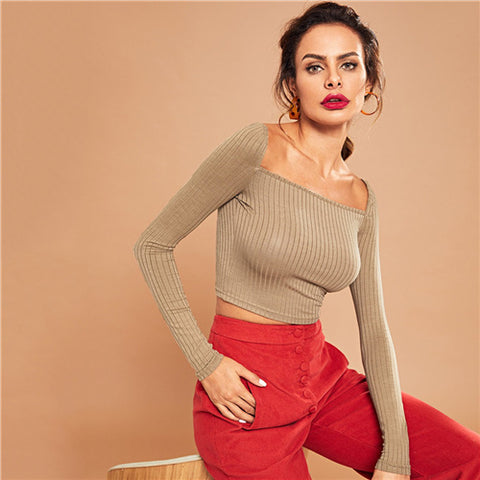 6ca1f68404e SHEIN Khaki Casual Crop Solid Square Neck Ribbed Knit Long Sleeve Tee  Autumn Party Modern Lady Women Tshirt And Top