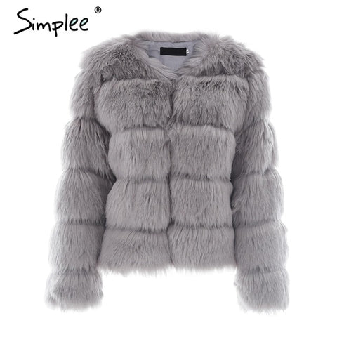 ace8d50ce7b ... Simplee Vintage fluffy faux fur coat women Short furry fake fur winter  outerwear pink coat 2018 ...