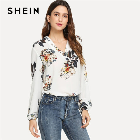 30b511580f SHEIN White Elegant Office Lady Floral Print V Neck Long Sleeve Pullovers  Blouse Autumn Workwear Women