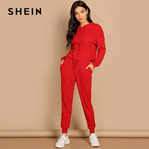 b12cbee5d8 SHEIN Red Pocket Patched Solid Hoodie and Drawstring Waist Pants Plain Set  Women Two Pieces Sets